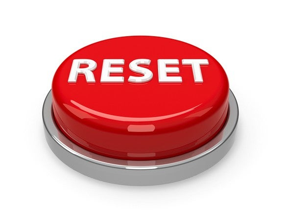 Red button with RESET written in white lettering.