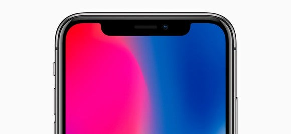 Top front half of iPhone X display with TrueDepth camera