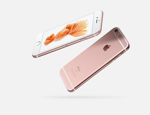Apple's iPhone 6s (front view on the left and rear view on the right).