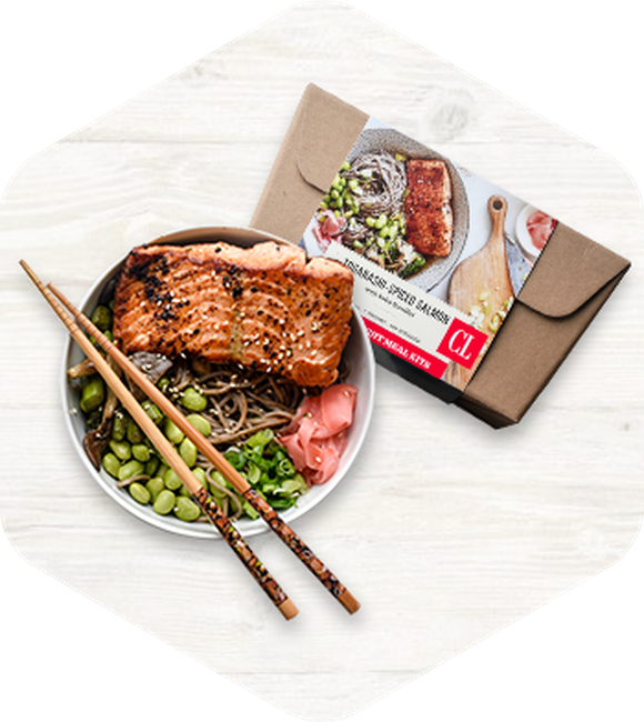 Sample meal kit of grilled salmon and endamame.