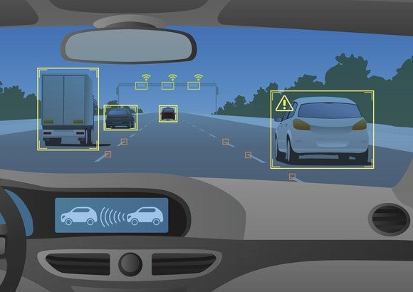 An illustration of the interior of a smart car, with sensors detecting other vehicles on the road.