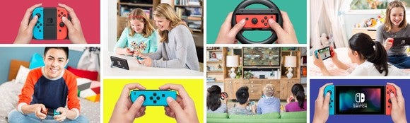 different panels advertising parents and children playing Nintendo products.