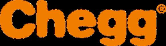 """Chegg logo (printed word """"Chegg"""" in orange on white background)."""