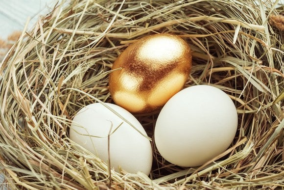 One golden egg with two regular ones in a nest.