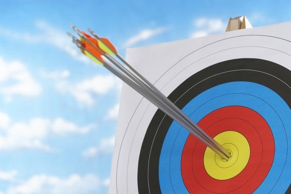 Three arrows in the bulls eye of a target.