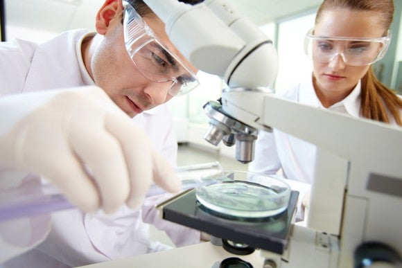 Two clinical researchers at work.