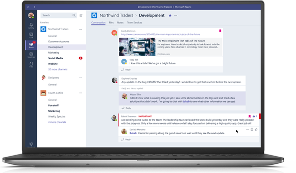 A laptop running Microsoft Teams software.