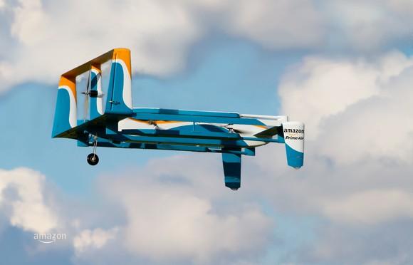An Amazon Prime Air drone in mid-air