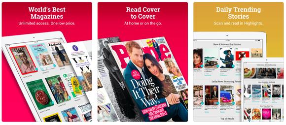 Three screenshots of the magazine app Texture, as seen on an iPad