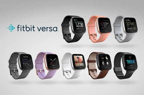 The Fitbit Versa with various screens