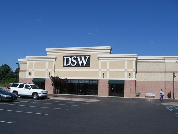 The outside of a DSW store.