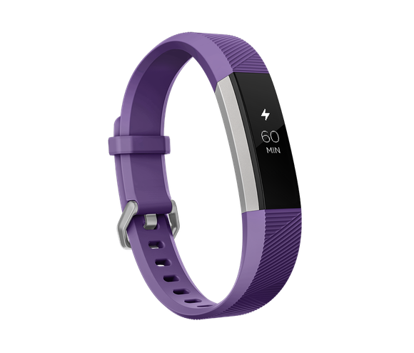 The Fitbit Ace fitness tracker for kids, a thin band in purple with a digital display in the center.