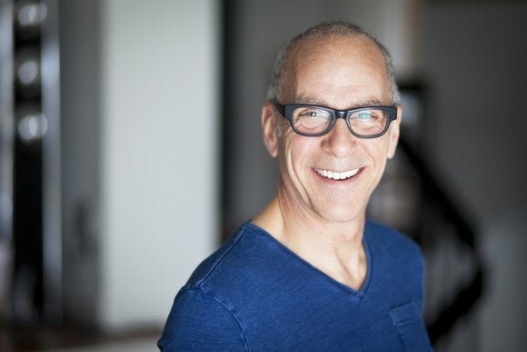 Smiling older man wearing glasses