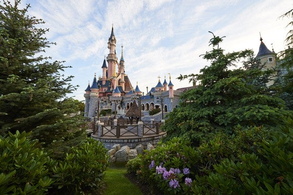 A glimpse through the trees at the Disney castle at Disneyland Paris.