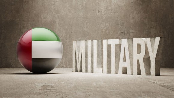 UAE flag printed on a ball next to word military