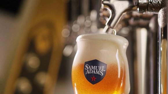 Samuel Adams beer being poured from tap