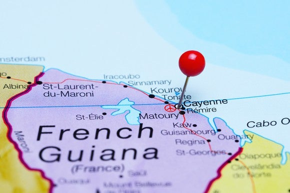 Map of French Guiana showing latitude line