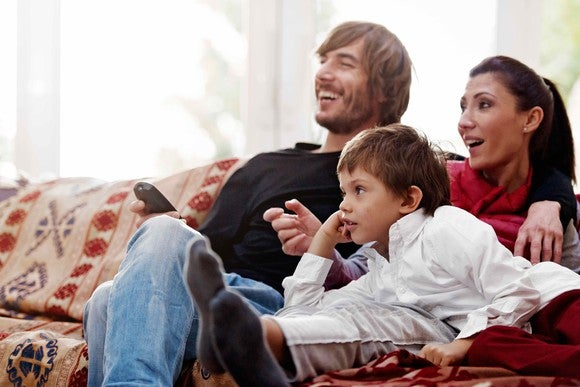 Family on a couch, watching TV