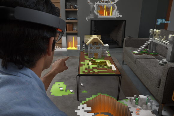A man viewing Minecraft through Microsoft's HoloLens augmented reality glasses.