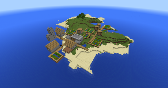 An island in the game Minecraft.