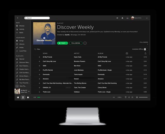 Spotify's app on a desktop computer.