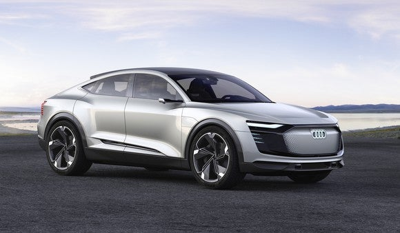 The Audi e-tron Sportback concept vehicle, a crossover SUV with a curved, coupe-like roofline.