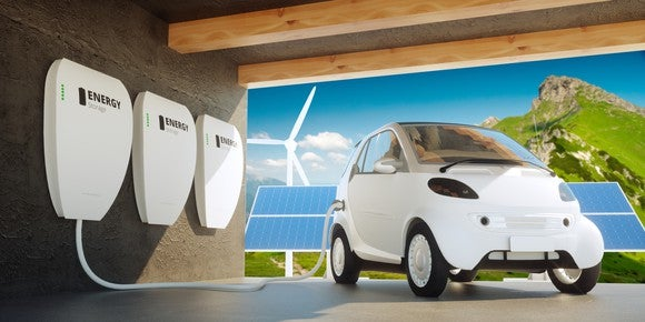 An electric vehicle connected to energy storage, with solar and wind power plants in the background