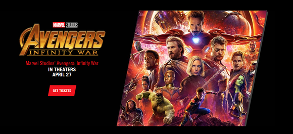 Movie poster for Avengers: Infinity War featuring many of Marvel's top movie superheroes from the last decade.