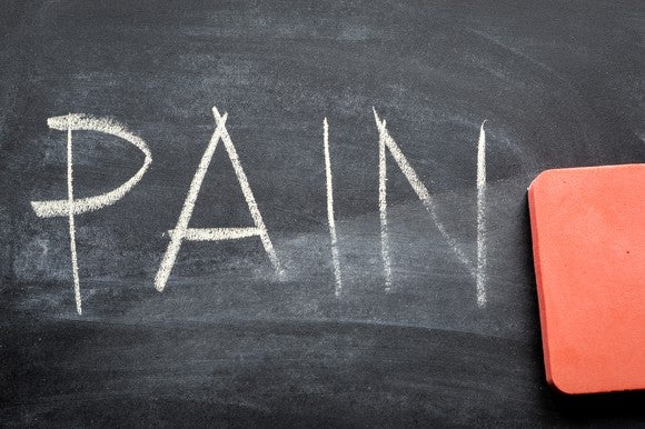 "Chalkboard with the word ""Pain"" written on it, and an eraser."