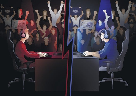 Two computer game players -- one man dressed in red, one in blue -- sitting at desks facing each other with their respective fans cheering in background -- concept for esports.