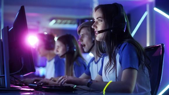 An e-sports team at a tournament.