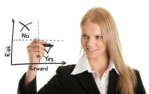 A smiling professional woman drawing a chart with a thick black marker and the words risk, reward, yes, and no.