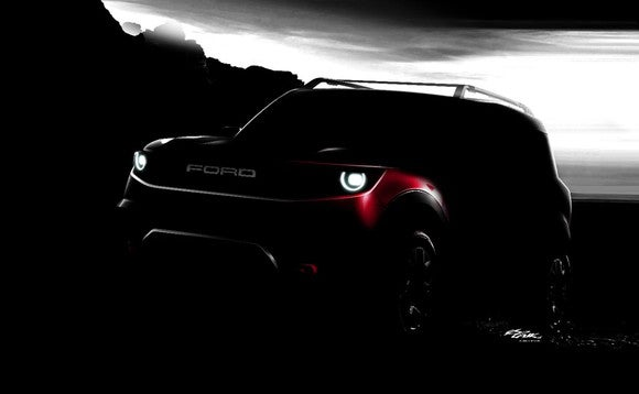 A shadowed outline of Ford's yet-to-be-named small off-road utility vehicle
