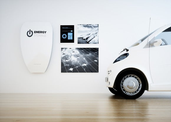 Room with energy storage and an electric vehicle.