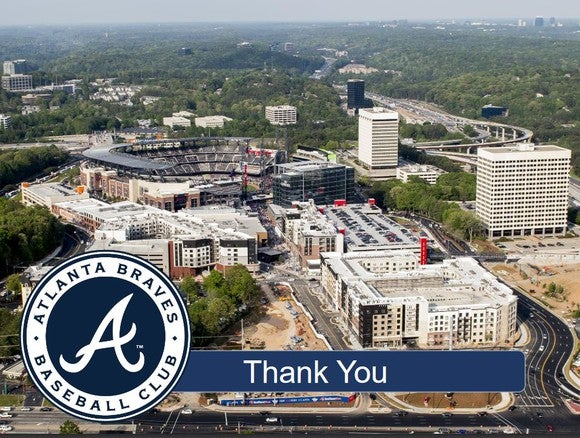 A bird's-eye view of the Braves' new stadium and The Battery Atlanta real estate development.