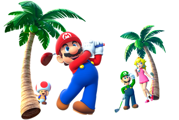 Mario golfing among palm trees with Luigi, Peach, and Toad.