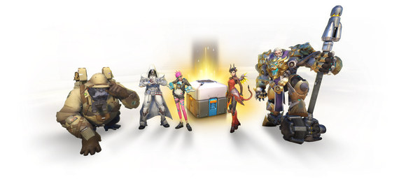 Five characters from Activision Blizzard's Overwatch standing around a loot box.