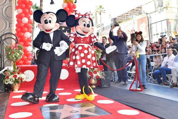 Mickey and Minnie Mouse at the Hollywood Walk of Fame.