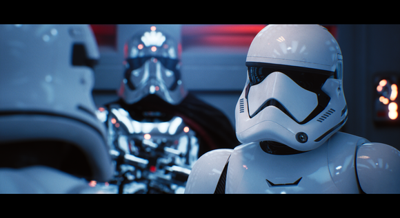 A screenshot of Star Wars storm troopers from a ray tracing demo by Epic Games.
