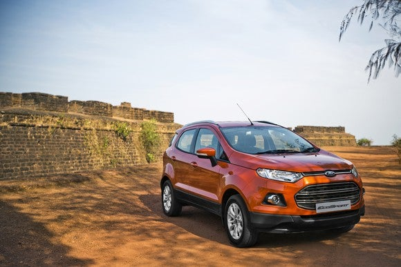 An orange Ford EcoSport in India