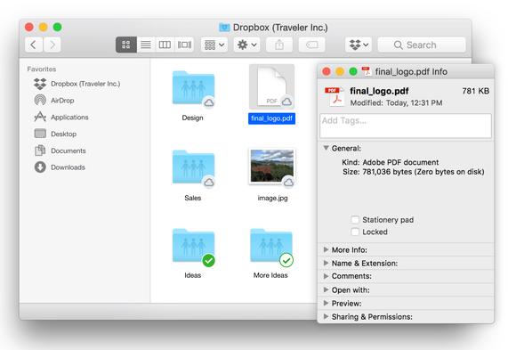 Dropbox interface on Mac