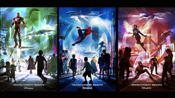 Disney promotional artwork for three announced Marvel lands.