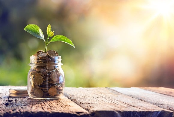Jar full of coins on a wooden table with a plant growing out of it.