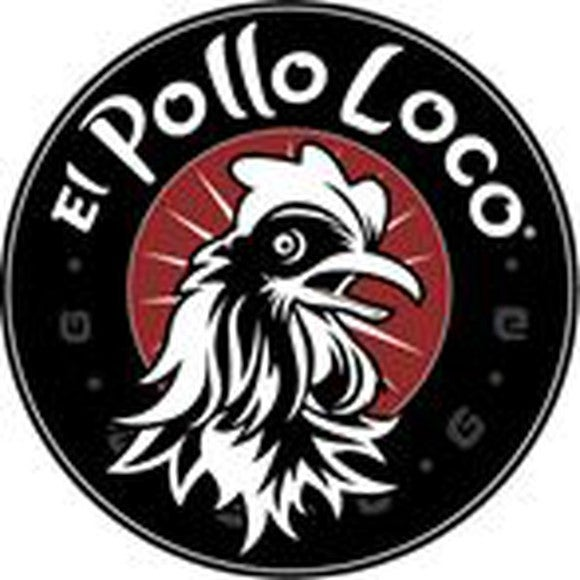 Illustrated rooster in profile on round logo in red and black.