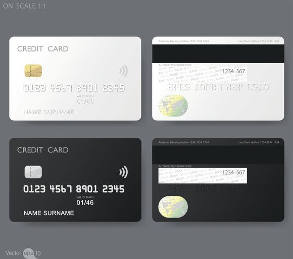 The fronts and backs of two generic cards labeled CREDIT CARD