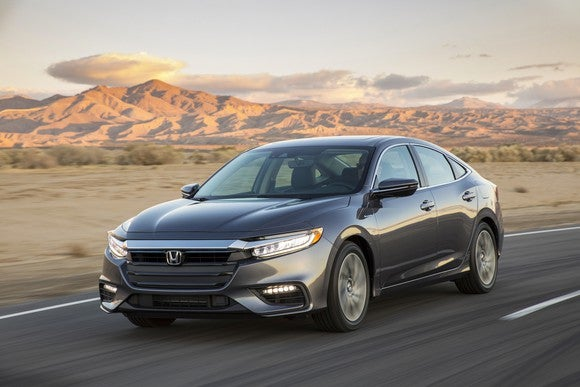 A dark gray 2019 Honda Insight compact sedan.