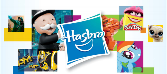 Hasbro logo surrounded by various company brands including Monopoly, My Little Pony and Transformers.