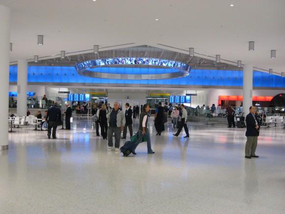 Customers in JetBlue's Terminal 5 at JFK Airport