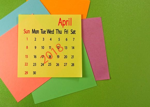 April 2018 calendar on a sticky note