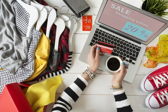 Woman shopping online for sales.